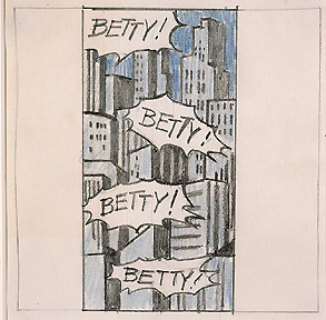 Roy Lichtenstein 1963-64 - BETTY! BETTY! - Graphite and colored pencils on paper (12 x 6 cm)