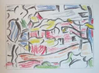 Roy Lichtenstein 1985 - RED BARN THROUGH THE TREES - (9 x 11 cm)