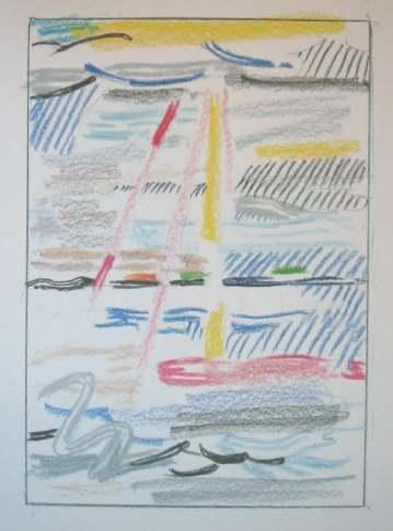 Roy Lichtenstein 1985 - SUNSHINE THROUGH THE CLOUDS - (13 x 9 cm)