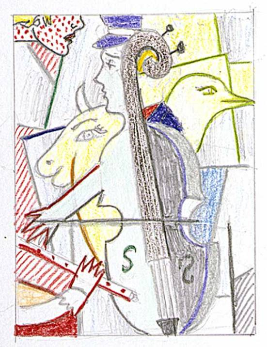 Roy Lichtenstein 1997 - DRAWING FOR CUBIS CELLO - Graphite and colored pencils on paper (30 x 22 cm)