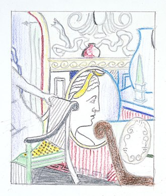 Roy Lichtenstein 1997 - DRAWING FOR INTERIOR WITH DIANA - Graphite and colored pencils on paper (20 x 22 cm)